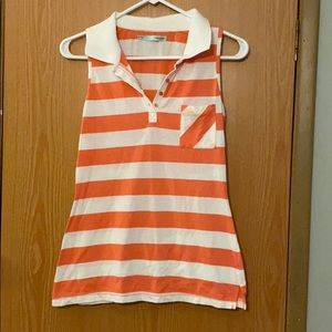 Maurices sleeveless shirt orange white striped